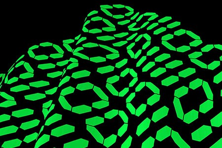 Abstract image of green digital ones and zeros on a wave shaped surface.